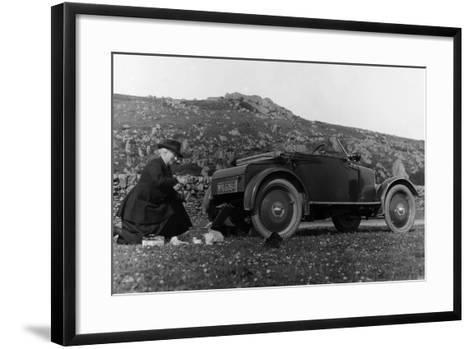 A Woman Picnicking Next to Her Air-Cooled Rover 8, C1919-C1925--Framed Art Print