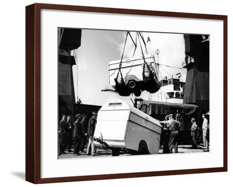 Unloading Trailers from a Ship, C1950s--Framed Art Print