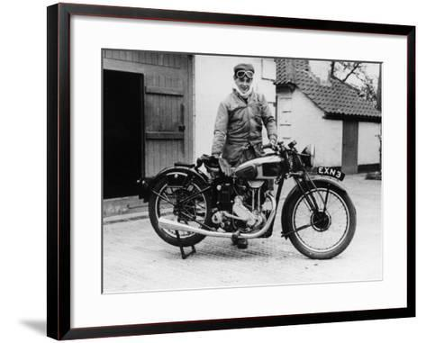 Donald Campbell Outside a Garage at Headley Grove, Surrey, 1938--Framed Art Print
