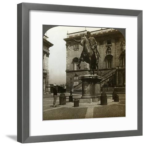 Statue of the Emperor Marcus Aurelius, Rome, Italy-Underwood & Underwood-Framed Art Print
