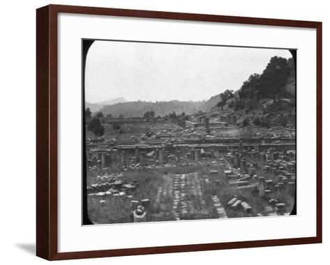 Mount Kronos and Temple of Hera, Olympia, Greece, Late 19th or Early 20th Century--Framed Art Print