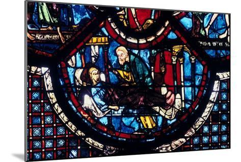 The Good Samaritan Cares for the Pilgrim, Stained Glass, Chartres Cathedral, France, 1205-1215--Mounted Photographic Print