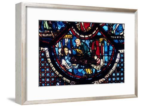 The Good Samaritan Cares for the Pilgrim, Stained Glass, Chartres Cathedral, France, 1205-1215--Framed Art Print