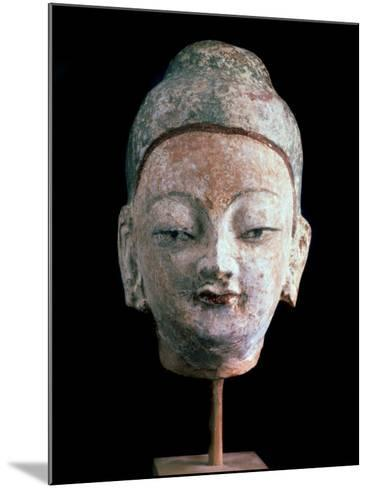 Head of Buddha, (From the Ruins of Old Idikutshari Near Turfa), 8th-9th Century--Mounted Photographic Print
