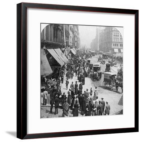 A Street Scene in Chicago, Illinois, USA, 1896-Underwood & Underwood-Framed Art Print