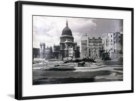 View of East End of St Paul's Showing Air Raid Damage in the Vicinity, London, C1941--Framed Art Print
