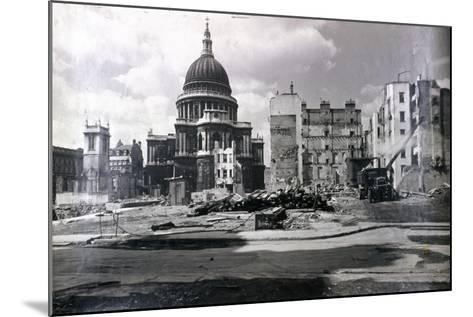 View of East End of St Paul's Showing Air Raid Damage in the Vicinity, London, C1941--Mounted Photographic Print