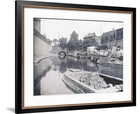 Unloading on the Grand Union Canal, London, C1905--Framed Art Print