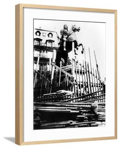 Protective Measures for the Statue of Louis Xiv, Paris, 1940--Framed Art Print