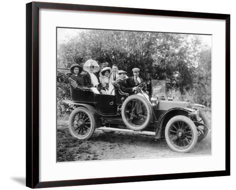 A Group of Men and Women Taking an Outing in a 1907 Mercedes, 1908--Framed Art Print