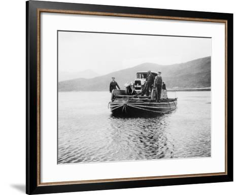 An Early Ferry Transporting a Car across a Lake--Framed Art Print