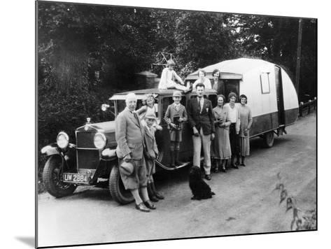 Family Group with their 1930 Fiat Towing a Caravan, (C1930)--Mounted Photographic Print