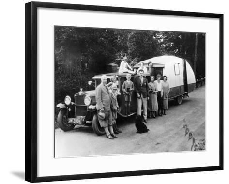 Family Group with their 1930 Fiat Towing a Caravan, (C1930)--Framed Art Print