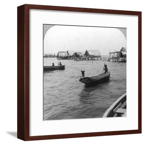 Indians in Log Canoes, Lake Maracaibo, Venezuela, C1900s--Framed Art Print