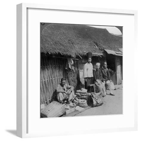 Native Shop and Customers, Near Mogok, Northern Burma, C1900s-Underwood & Underwood-Framed Art Print