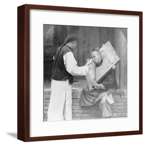 Feeding a Prisoner Wearing a Cangue, China, 1902-CH Graves-Framed Art Print