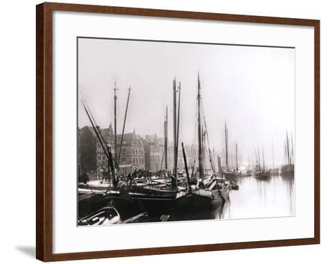 Canal Boats, Rotterdam, 1898-James Batkin-Framed Art Print