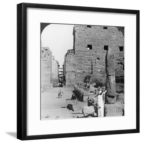 Avenue of Sacred Images after Excavation, Karnak, Thebes, Egypt, C1900-Underwood & Underwood-Framed Art Print
