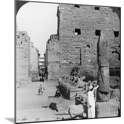 Avenue of Sacred Images after Excavation, Karnak, Thebes, Egypt, C1900-Underwood & Underwood-Mounted Photographic Print