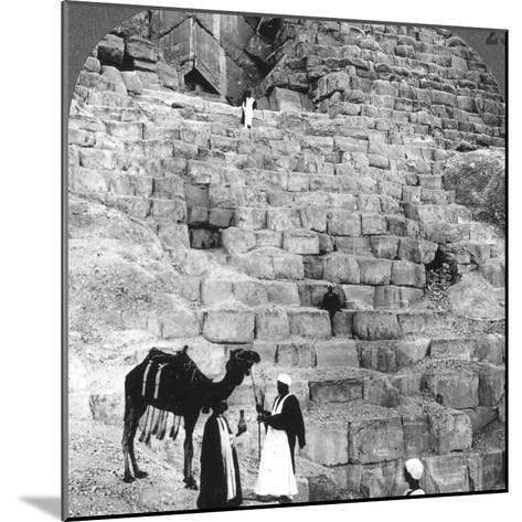 Entrance to the Great Pyramid of Giza, Egypt, 1905-Underwood & Underwood-Mounted Photographic Print