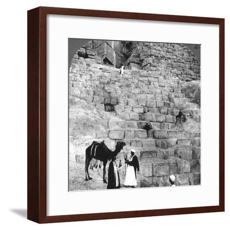 Entrance to the Great Pyramid of Giza, Egypt, 1905-Underwood & Underwood-Framed Art Print