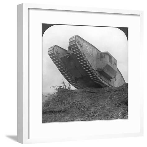 A Tank Breaking Through the Wire at Cambrai, France, World War I, C1917-C1918--Framed Art Print