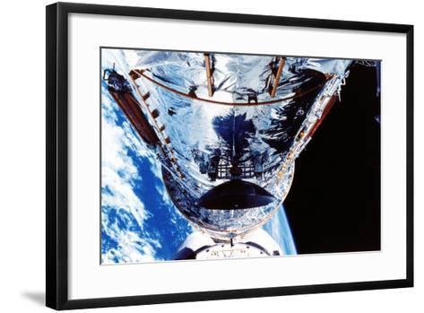 The Hubble Space Telescope Orbiting the Earth, C1990S--Framed Art Print