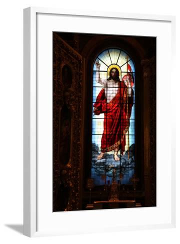 Christ, Stained Glass, St Isaac's Cathedral, St Petersburg, Russia, 2011-Sheldon Marshall-Framed Art Print