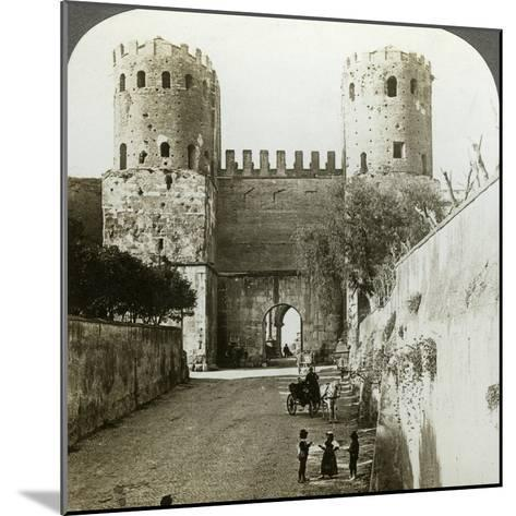 Gate of St Sebastian in the Aurelian Wall, Rome, Italy-Underwood & Underwood-Mounted Photographic Print