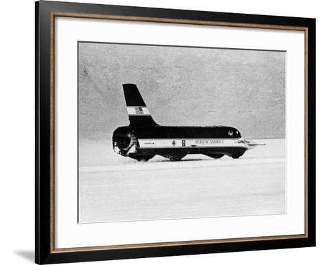 Spirit of America Sonic I' Breaking the Land Speed Record, Bonneville Salt Flats, Utah, USA, 1965--Framed Art Print