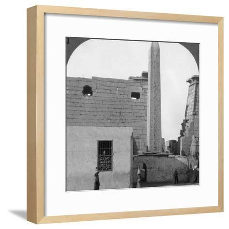 The Obelisk of Rameses II and Front of Luxor Temple, Thebes, Egypt, 1905-Underwood & Underwood-Framed Art Print