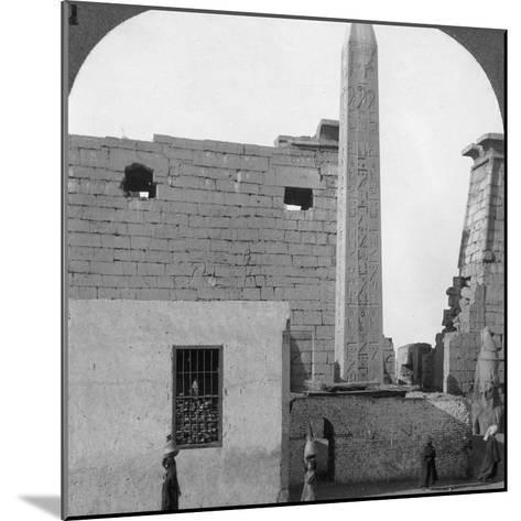 The Obelisk of Rameses II and Front of Luxor Temple, Thebes, Egypt, 1905-Underwood & Underwood-Mounted Photographic Print