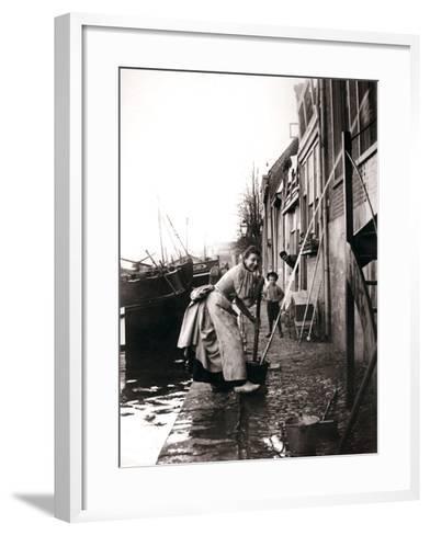 Woman Mopping the Street, Dordrecht, Netherlands, 1898-James Batkin-Framed Art Print