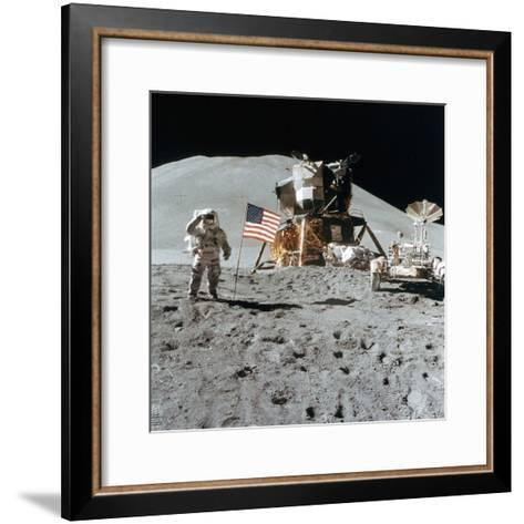 Astronaut James Irwin (1930-199) Gives a Salute on the Moon, 1971--Framed Art Print