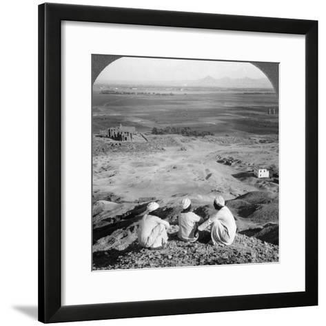 Across the Plain of Thebes and Past the Memnon Statues from the Cliffs, Egypt, 1905-Underwood & Underwood-Framed Art Print