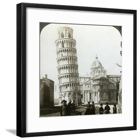 Cathedral and Leaning Tower of Pisa, Italy-Underwood & Underwood-Framed Art Print