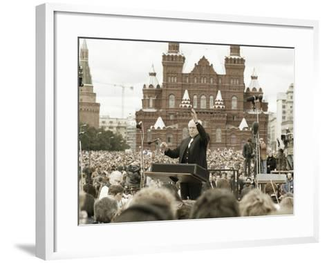 Mstislav Rostropovich, Russian Conductor, Red Square, Moscow, Russia, 1993--Framed Art Print