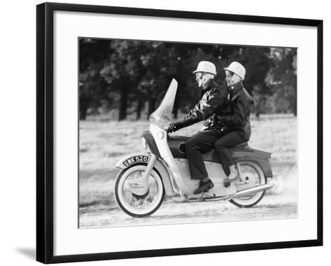 A Man and a Woman Riding an Ariel Leader, 1958--Framed Art Print