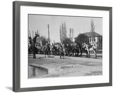 Officer Inspecting a Mounted Detatchment of the French Foreign Legion, Syria, 20th Century--Framed Art Print