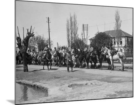 Officer Inspecting a Mounted Detatchment of the French Foreign Legion, Syria, 20th Century--Mounted Photographic Print
