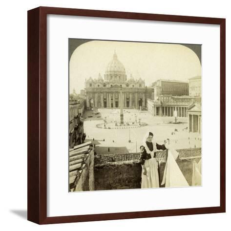 St Peter's Square and Basilica and the Vatican, Rome, Italy-Underwood & Underwood-Framed Art Print