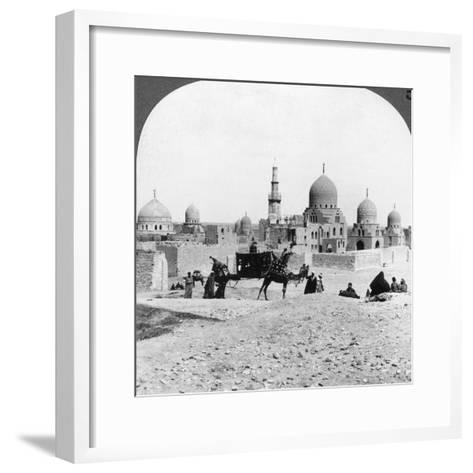 A 'Ship of the Desert' Passing Tombs of By-Gone Moslem Rulers, Cairo, Egypt, 1905-Underwood & Underwood-Framed Art Print