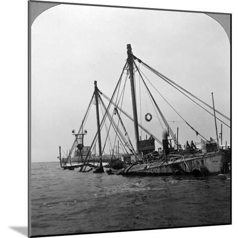 Sunken Warship HMS 'Vindictive, Ostend, Belgium, World War I, 1918--Mounted Photographic Print