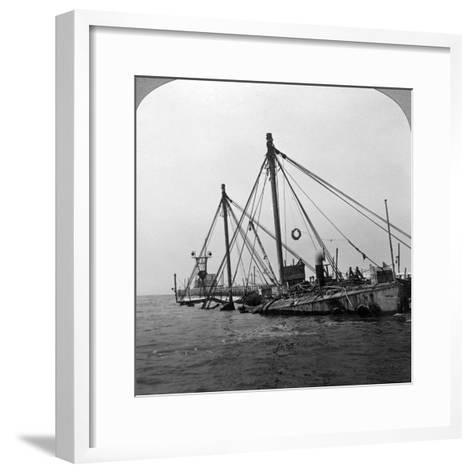 Sunken Warship HMS 'Vindictive, Ostend, Belgium, World War I, 1918--Framed Art Print