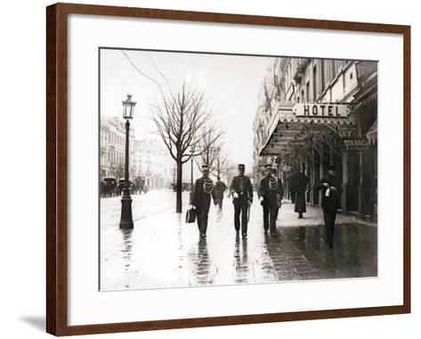 Guards on the Street, Brussels, 1898-James Batkin-Framed Art Print