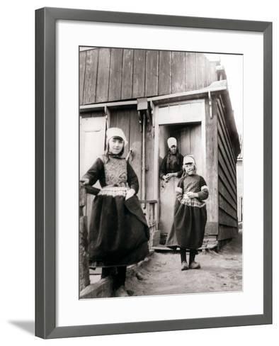 Girls in Traditional Dress, Marken Island, Netherlands, 1898-James Batkin-Framed Art Print