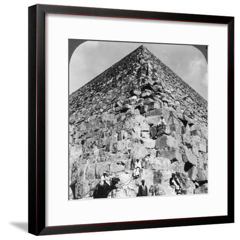 Looking Up the Northeast Corner of the Great Pyramid, Egypt, 1905-Underwood & Underwood-Framed Art Print
