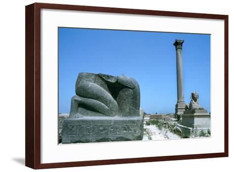 Pompey's Pillar, Alexandria, Egypt--Framed Art Print