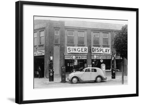 A Singer 11Hp Airstream Saloon Car Outside a Welsh Garage, Wales, 1935--Framed Art Print