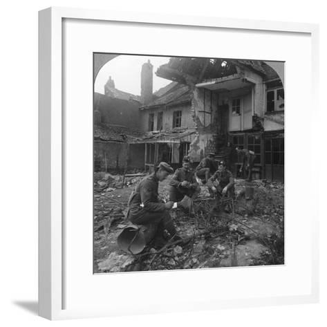 Houses Damaged by German Shellfire, Ypres Salient, Belgium, World War I, C1914-C1918--Framed Art Print